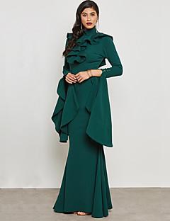 tanie AW 18 Trends-Damskie Wyrafinowany styl / Moda miejska Bodycon / Pochwa / Syrena Sukienka - Jendolity kolor, Bez pleców / Falbany Maxi