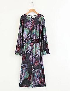 billige Vintage-dronning-Dame Vintage Skift Kjole - Blomstret Midi