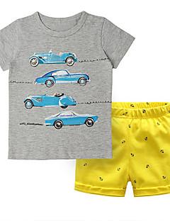 billige Tøjsæt til drenge-Baby Drenge Trykt mønster / Farveblok Kortærmet Tøjsæt