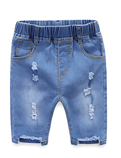 billige Jeans til piger-Børn / Baby Pige Ensfarvet Jeans