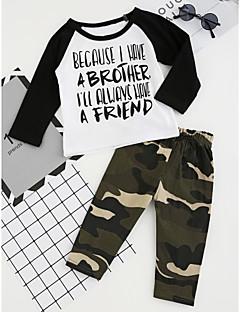 billige Tøjsæt til drenge-Drenge Tøjsæt camouflage, Bomuld Polyester Forår Efterår Langærmet Tegneserie Pænt tøj Sort