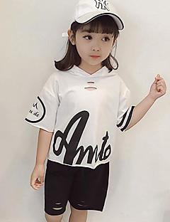 billige Tøjsæt til piger-Børn Pige Ensfarvet Trykt mønster Halvlange ærmer Tøjsæt