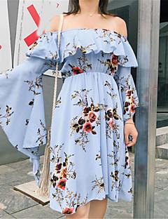 baratos Vestidos de Festa-Mulheres balanço Vestido Estampa Colorida Médio