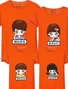 billige Sett med familieklær-4 deler Barn Familie Look Fargeblokk Kortermet T-skjorte