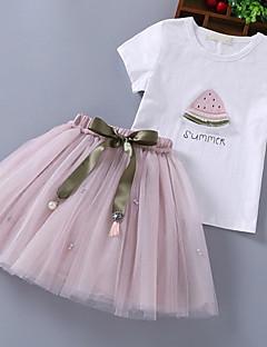 billige Tøjsæt til piger-Børn Pige Kirsebær Ensfarvet Trykt mønster Kortærmet Tøjsæt