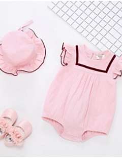 cheap The Freshest One-Piece-Baby Girls' Basic Solid Colored Sleeveless Cotton Romper Pink