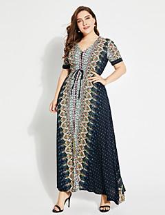 Χαμηλού Κόστους Φορέματα Boho-Γυναικεία Κομψό στυλ street Μπόχο Swing Φόρεμα - Γεωμετρικό Μακρύ