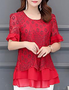billige Bluse-kvinders bluse - blomstret rundt hals