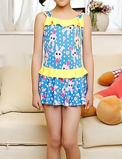 billige Badetøj til piger-Børn Pige Trykt mønster / Farveblok Uden ærmer Badetøj