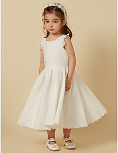 cheap Flower Girl Dresses-Princess Knee Length Flower Girl Dress - Cotton Lace Sleeveless Scoop Neck with Pleats by LAN TING Express