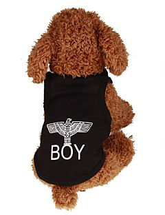 billiga Hundkläder-Hund / Katt / Husdjur T-shirt / Jakke / Väst Hundkläder Enkel / Bokstav & Nummer / Klassisk Svart Plysch / Cotton Kostym För husdjur Dam