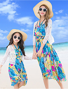 billige Sett med familieklær-Voksen Mamma og meg Blomstret Halvlange ermer Bluse