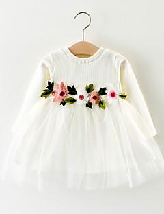 baratos Vestidos de Renda para Meninas-bebê Para Meninas Activo Geométrica Manga Longa Algodão Vestido Branco / Bébé