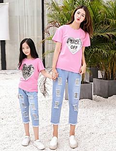 billige Sett med familieklær-Mamma og meg Geometrisk Kortermet T-skjorte