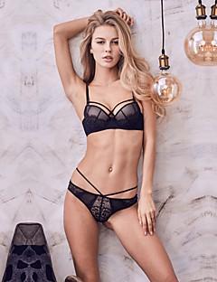 billige Dame-brystholdere-Kvinner Sexy Sett med truse og BH Dytt opp / Blonde-BH / BH med bøyler 3/4 Kop - Blomstret / Jacquardvevnad / Broderi