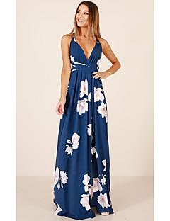 baratos Oferta-Mulheres Algodão balanço Vestido Decote em V Profundo Cintura Alta Longo