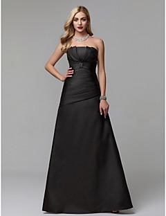 billiga Balklänningar-A-linje Axelbandslös Golvlång Taft Bal / Formell kväll Klänning med Plisserat av TS Couture®