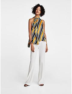 billige Skjorte-Dame - Stribet Patchwork / Trykt mønster Skjorte