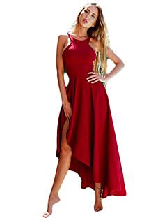 baratos Vestidos de Festa-Mulheres Bainha Vestido Sólido Com Alças Assimétrico
