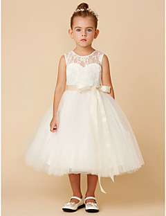 Cheap flower girl dresses online flower girl dresses for 2018 princess tea length flower girl dress lace tulle sleeveless jewel neck with bows sash ribbon by lan ting bride mightylinksfo