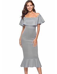 Χαμηλού Κόστους Off Shoulder-Γυναικεία Λεπτό Θήκη Φόρεμα Μίντι Χαμόγελο