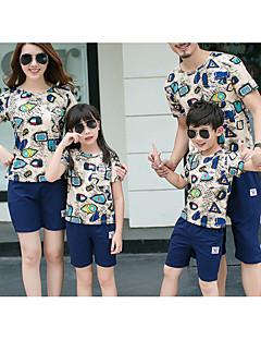billige Sett med familieklær-Barn Familie Look Geometrisk Kortermet T-skjorte