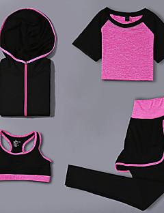 billiga Träning-, jogging- och yogakläder-Dam Yoga Suit - Purpur, Fuchsia, Rosa sporter Enfärgad Hög midja Träningsoverall Träning Sportkläder Torkar snabbt Hög Elasisitet