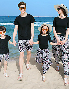 baratos Conjuntos de Roupa para a Família-Adulto Olhar de família Floral Manga Curta Camiseta