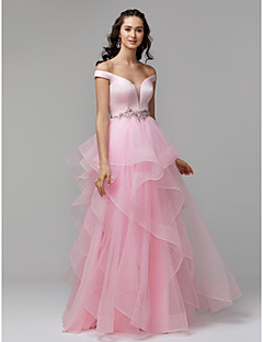 cheap Prom Dresses-Princess Plunging Neck Floor Length Satin / Tulle Prom / Formal Evening Dress with Beading / Ruffles by TS Couture®
