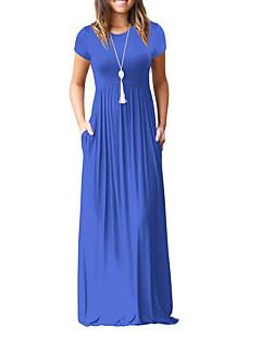 abordables Robes pour Femme-Femme Sortie Balançoire Robe Couleur Pleine Taille haute Maxi / Eté