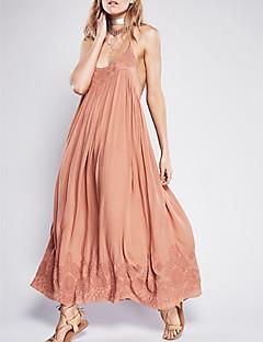 Χαμηλού Κόστους Dresses For Date-Γυναικεία Βασικό Σε γραμμή Α Φόρεμα - Μονόχρωμο Μακρύ