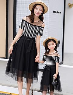 billige Sett med familieklær-Mamma og meg Stripet Kortermet Kjole