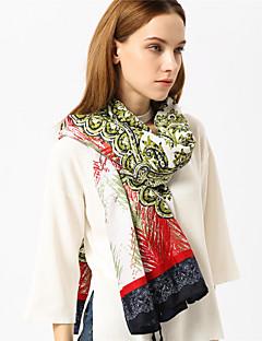 זול צעיפים אופנתיים-מלבן - דפוס שחור ואדום פרנזים וינטאג' / בסיסי בגדי ריקוד נשים