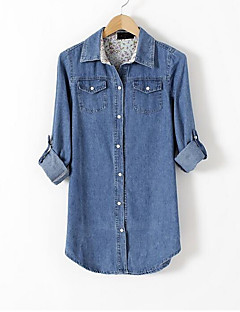 billige Skjorte-Dame - Ensfarvet Denimstof Skjorte