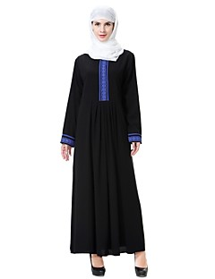 baratos Vestidos-Mulheres Vintage / Sofisticado balanço / Abaya / Kaftan Vestido Sólido Médio