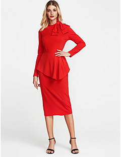 お買い得  レディースファッション&ウェア-女性用 お出かけ タイト シース ドレス - リボン, ソリッド 膝上 クルーネック レッド