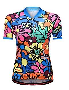 billige Sykkeljerseys-WOSAWE Dame Kortermet Sykkeljersey - Blå Blomster / botanikk Sykkel Jersey, Refleksbånd