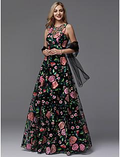 billiga Balklänningar-A-linje Prydd med juveler Golvlång Spets Bal / Formell kväll Klänning med Mönster / tryck av TS Couture®