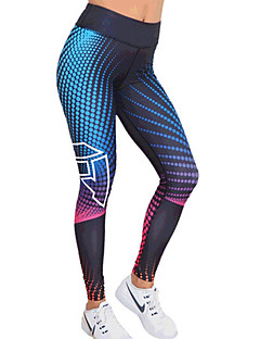 billiga Träning-, jogging- och yogakläder-Dam Yoga byxor - Blå sporter Digitalt 3D-tryck Elastan Hög midja Cykling Tights / Leggings Löpning, Fitness, Gym Sportkläder Andningsfunktion, Snabb tork, Butt Lift Hög Elasisitet Skinny