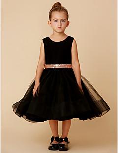 Χαμηλού Κόστους Φορέματα Καλλιστείων-Πριγκίπισσα Μέχρι το γόνατο Φόρεμα για Κοριτσάκι Λουλουδιών - Τούλι / Βελούδο Αμάνικο Με Κόσμημα με Φιόγκος(οι) / Ζώνη με LAN TING BRIDE®