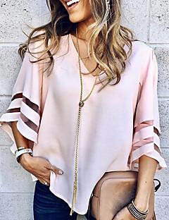 Χαμηλού Κόστους Γυναικείες Μπλούζες-Γυναικεία Μπλούζα Μονόχρωμο Λαιμόκοψη V / flare μανίκι