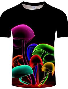 billige Herremote og klær-T-skjorte Herre - Regnbue / Dyr, Trykt mønster Grunnleggende / overdrevet