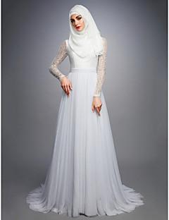 billiga Brudklänningar-A-linje Prydd med juveler Hovsläp Spets / Tyll Bröllopsklänningar tillverkade med av LAN TING BRIDE®