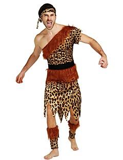 billige Voksenkostymer-Primitiv Kostume Herre Voksen Halloween Halloween Karneval Maskerade Festival / høytid Halloween-kostymer Drakter Brun Ensfarget Polkadotter Halloween
