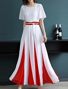 billige Nytt i kjoler-Dame Gatemote / Sofistikert Skiftet / Swing Kjole - Ensfarget / Stripet / Fargeblokk, Lapper Maksi Svart & Rød
