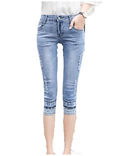 billige Kvinde Underdele-Dame Sofistikerede Jeans Bukser Ensfarvet