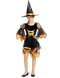 billige Barnekostymer-Trollmann / heks Kostume Jente Barn Halloween Halloween Karneval Barnas Dag Festival / høytid Drakter Svart Ensfarget Halloween