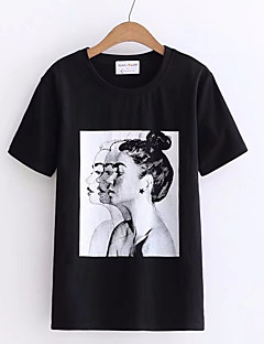 billige Kvinde Toppe-Dame - Portræt Trykt mønster Basale T-shirt