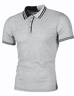 bb20519e4d1b2 Men s Cotton Polo - Color Block Print Shirt Collar   Short Sleeve   Summer