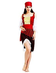 billige Halloweenkostymer-Pirates of the Caribbean Kostume Dame Halloween Karneval Maskerade Festival / høytid Halloween-kostymer Drakter Rose Ensfarget Stripet Halloween Halloween